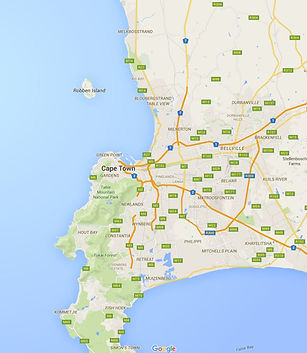 Google map of Cape Town areas we cover