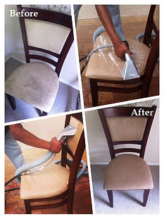 Chair steam cleaning, before and after, in Cape Town