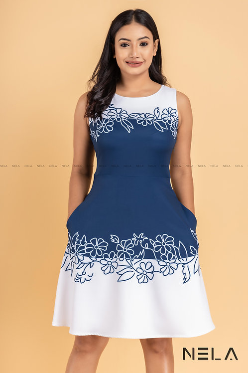FLORAL PRINTED DRESS BLUE AND WHITE