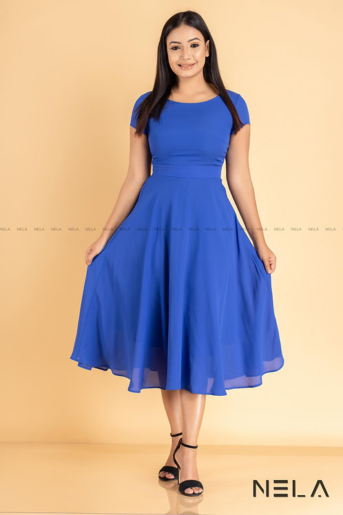 Midi Length Dress - Blue Colour