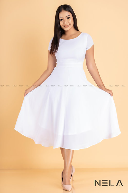 Midi Length Dress - White Colour