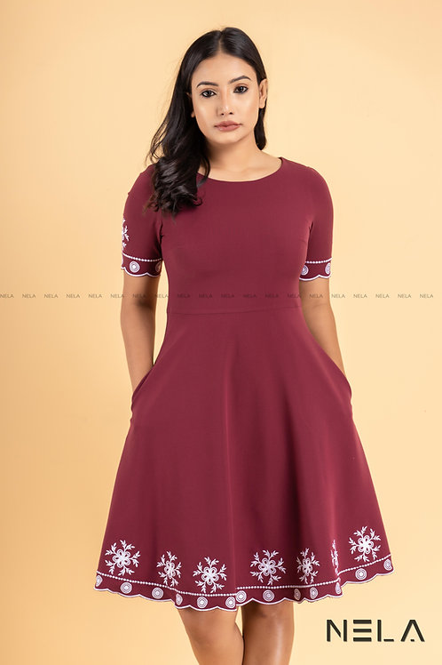 SCALLOPE  EDGE EMBROIDERED DRESS