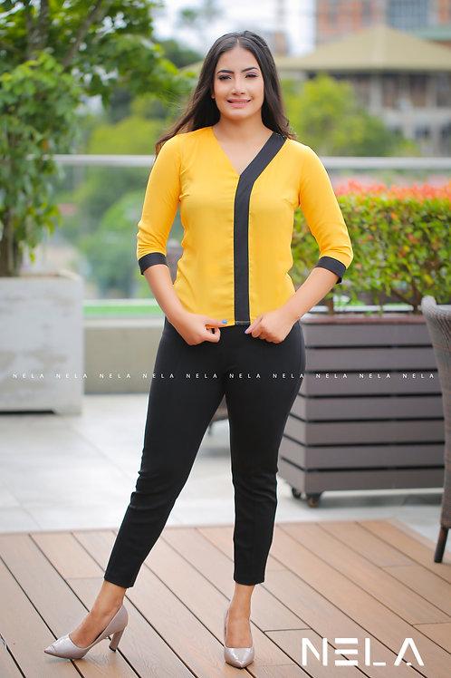 Black Contrast V Neck Top - Yellow