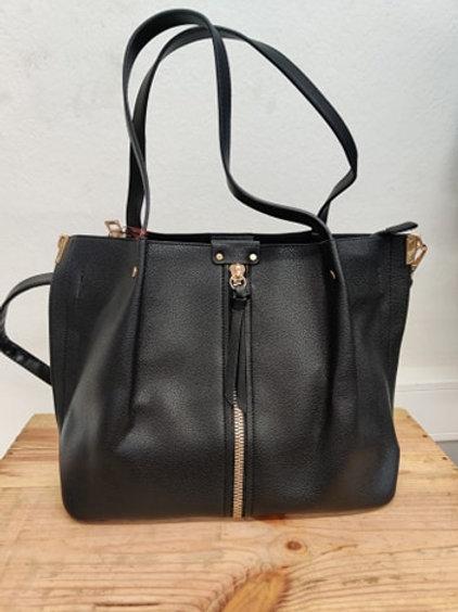 Handtasche schwarz mit Gold BESTINI