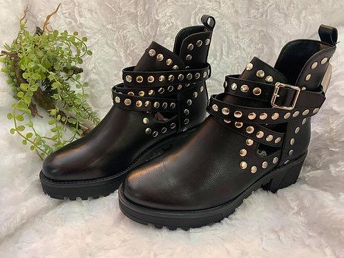 Sneaker Stiefeletten Boots schwarz mit Nieten 36-41 NEU