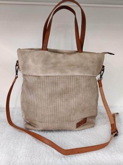 Handtasche Schultertasche Vintage Look Beige Grau
