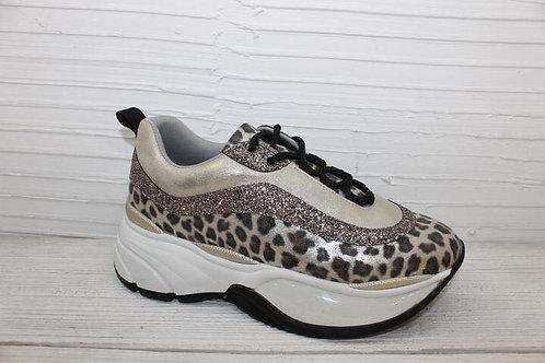 Sportschuhe Sneaker Glitzer Leopardenmuster