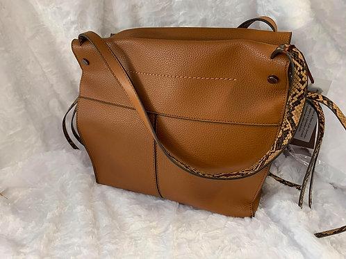 Handtasche Cognac mit Python Muster BESTINI