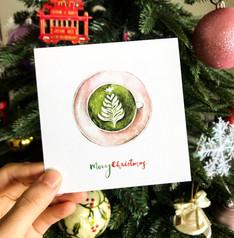 Christmas card - Christmas Tree Matcha Latte