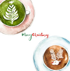 Christmas card - Matcha & Reindeer Latte