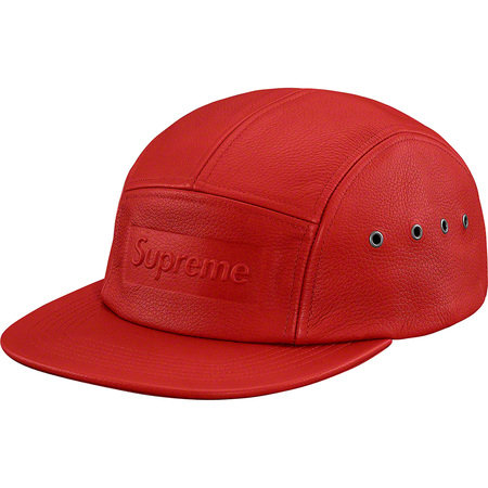 Supreme® - Pebbled Leather Camp Cap - Red