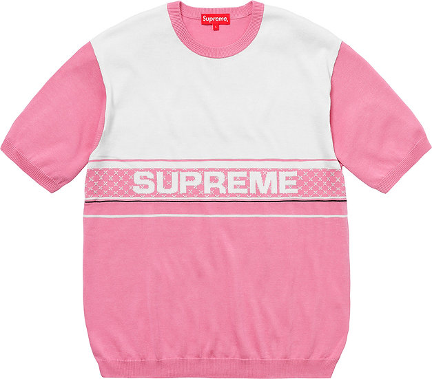 Supreme® - Chest Logo S/S Knit Top - Pink - SS18KN33