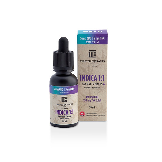 Twisted Extracts - Indica - 1:1 Drops - Orange Flavour - 150mg THC - 150mg CBD