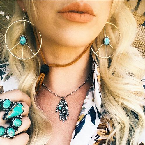 PEACE Turquoise Hoop Earrings