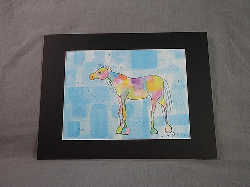 Whimsical Pony  print -  Blue