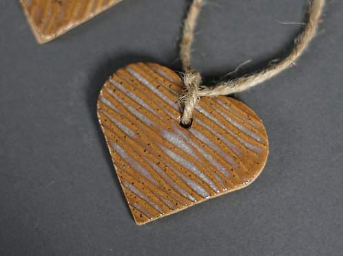 Heart Ornament - Tan