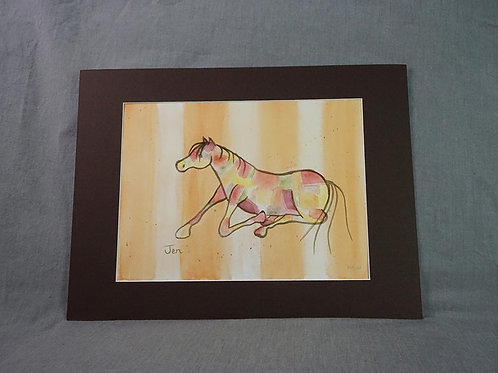 Whimsical Pony  print - Orange