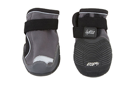 hurtta outdoor gear for dogs. Dog boots for walking and hiking on rugged surfaces or tough weather conditions. velcro closure, great grip, weatherproof Houndtex with 3M reflectors