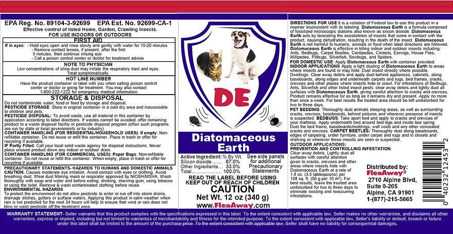 Flea Away Diatomaceuos Earth Final Label