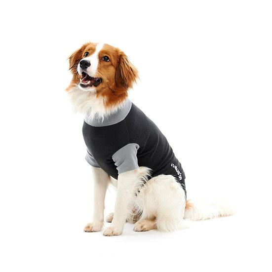 BUSTER Classic Recovery Body Suit for Dogs, Black/Grey