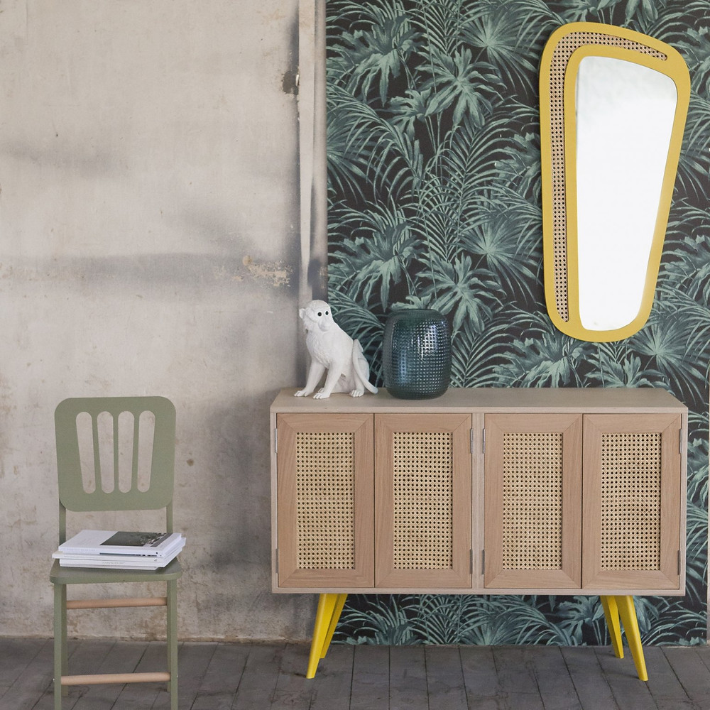 meuble miroir cannage