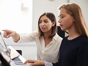 Teacher and Pupil at Piano Lesson
