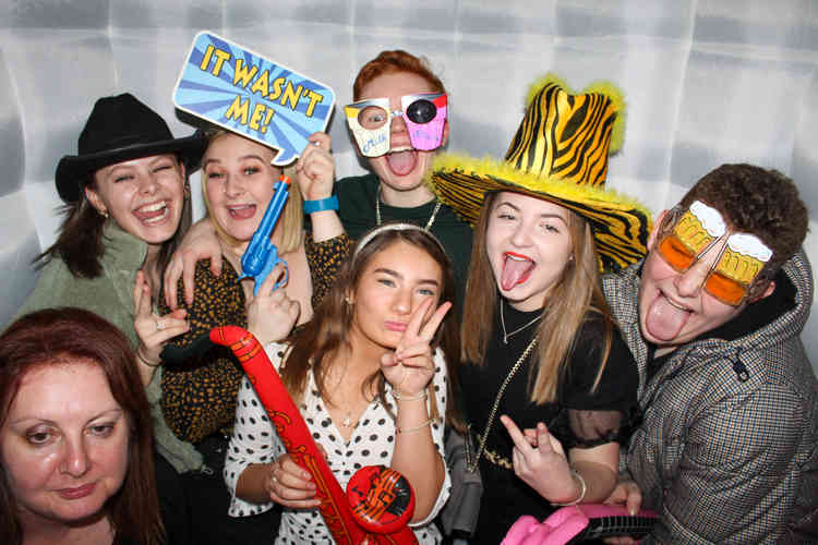 Photo Booth Hired for a Crazy Kids Party in Hexham with friends posing for photograher and DJ