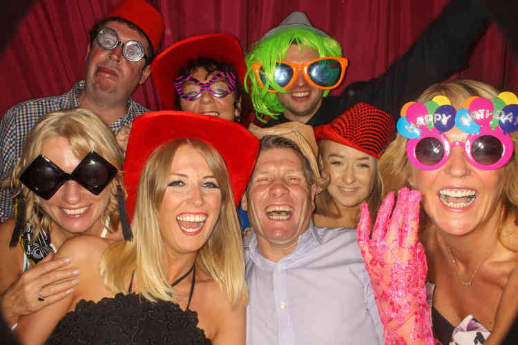 Photo Booth Fun for a Couple in Otterburn. Hired with brilliant props and a great Party DJ