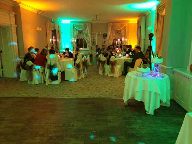 Mood Lighting and Uplighting for a Wedding Disco in Durham