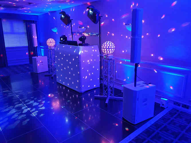 Uplighting in Cumbria at a Wedding Disco Party in Blue