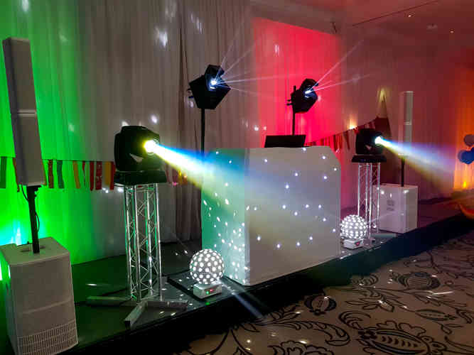 Wedding Uplighting in Cumbria. Mood Lighting a DJ White Wedding Package