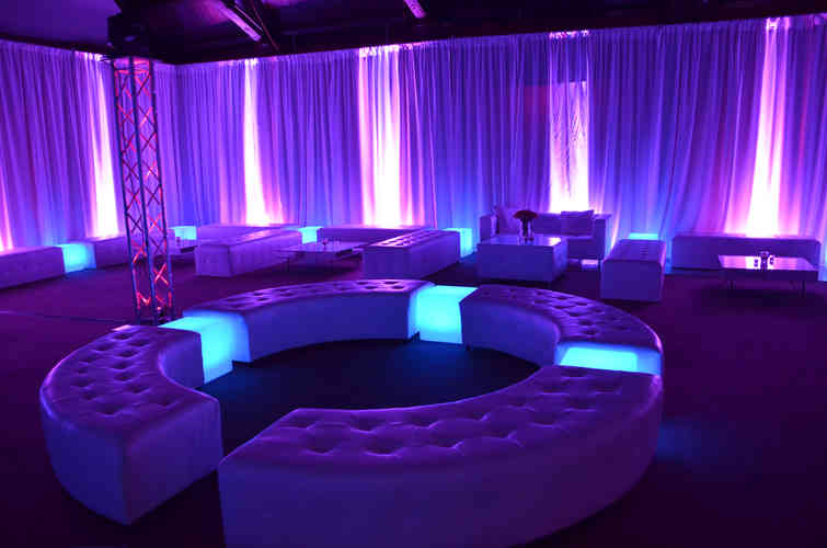 Uplighting Supplied to a Wedding in Northumberland in Ultraviolet