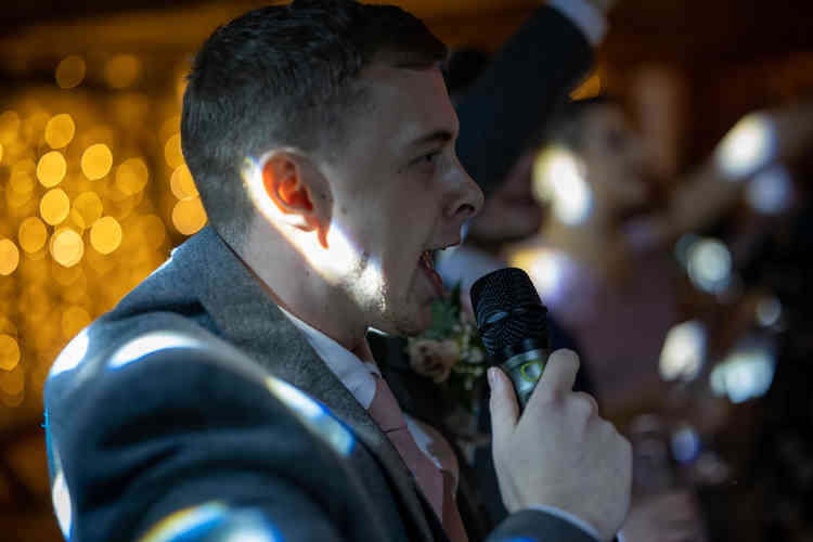 Young Karaoke Singer Performing a Classic Song at Mercure Hotel in Darlington. DJ Playing some great Disco Music with a Photo Booth