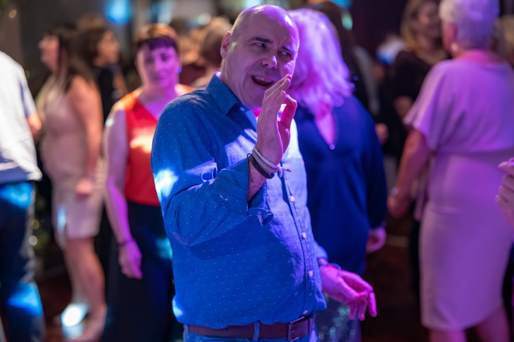 Dancer loving the DJ at a Themed Disco Night at Beamish Park Hotel.