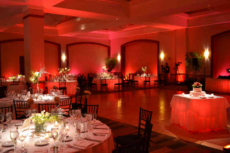 Uplighting Hired at a Hotel in Carlisle for a Wedding with a Disco in Ruby Red