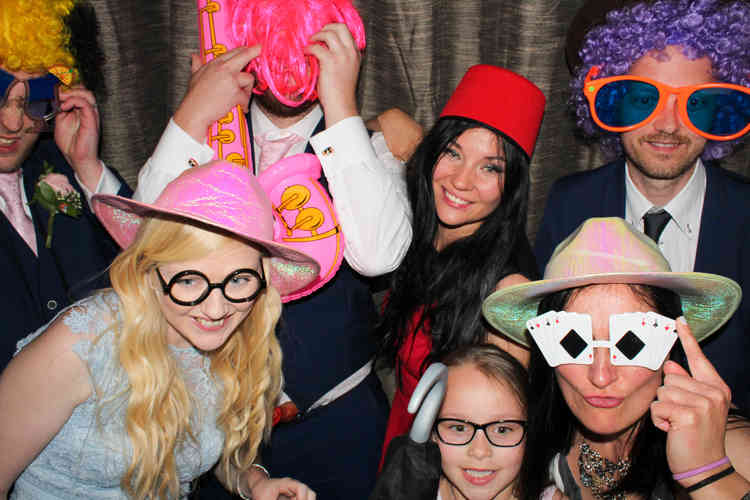 Photo Booth Hired in Whitby for a Wedding Disco Party. DJ is supplying music and videographer recording footage of the party.