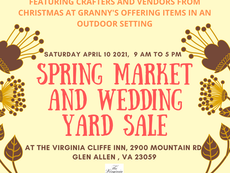 Save the Date for our Wedding Yard Sale on April 10 , 2021!