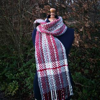 Echarpe rayure mélange laine et alpaga rouge et couleurs naturelles