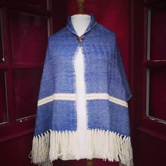 Châle diamant bleu pour reconstitution scandinave.
