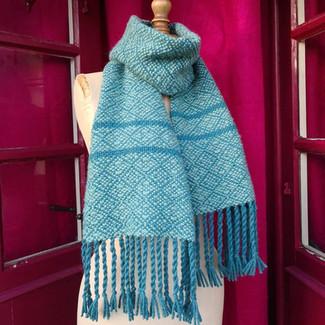 Echarpe mélange laine et alpaga teintes bleues