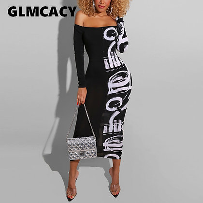 Abstract Letter Printed Casual Maxi Dress