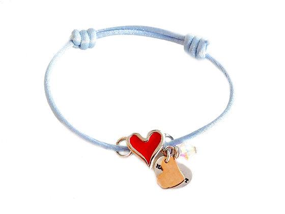 Red Heart Shaped Charm Cord Bracelet