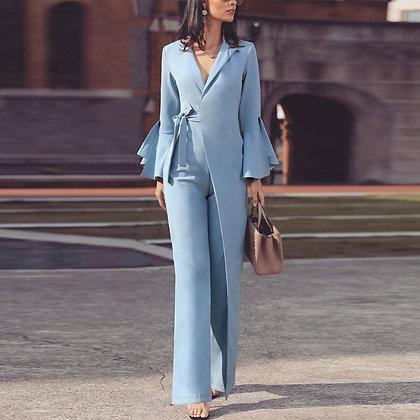 Elegant Long Sleeve Workwear Jumpsuit