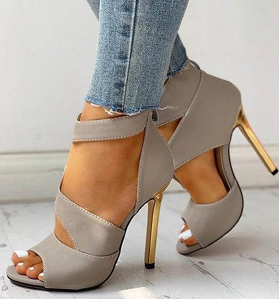 Thin High Zipper Peep Toe High Heels Pumps