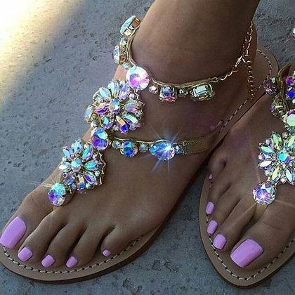 sandals with diamond jewelry