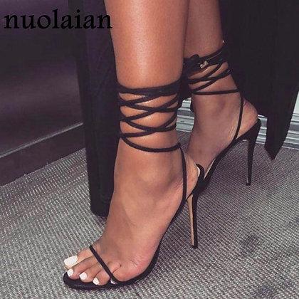 Black Leather Gladiator Ankle Strap High Heels