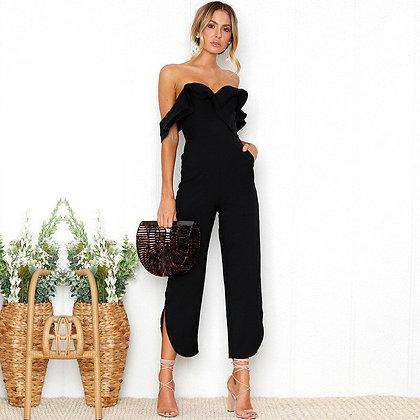 Elegant Ruffle Strapless Black Jumpsuits