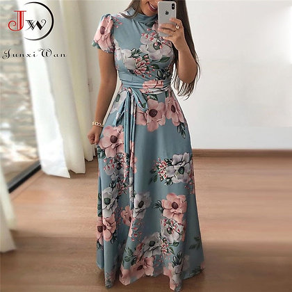Summer Maxi Turtleneck Dress