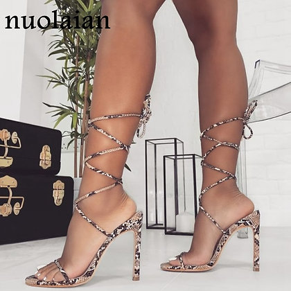 Leather Platform Chaussure Gladiator High Heels