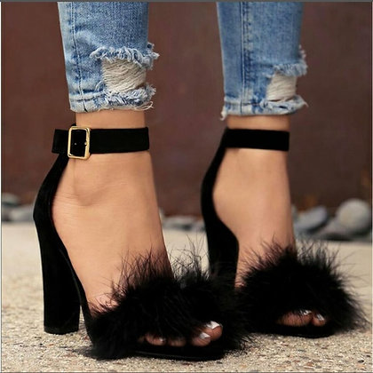 Ankle Strap Faux Fluffy High Heels